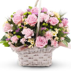 파스텔 핑크 혼합 꽃바구니