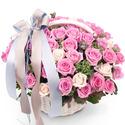 로맨틱 핑크 장미 꽃바구니