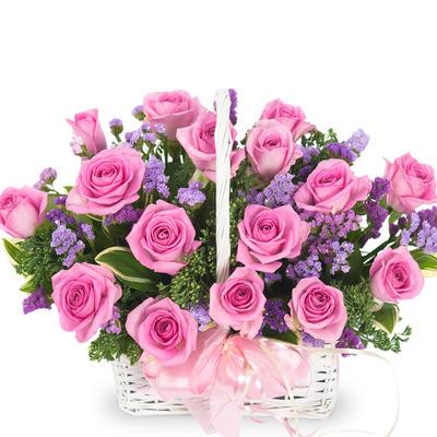 핑크 장미 바구니